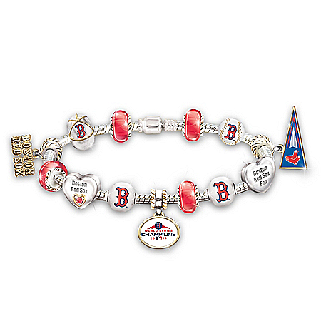 Boston Red Sox 2018 World Series Champions Sterling Silver-Plated Charm Bracelet