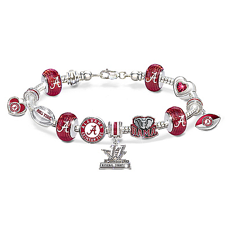 Go Alabama Crimson Tide 2017 Football National Champions Women's Charm Bracelet by The Bradford Exchange Online - Lovely Exchange