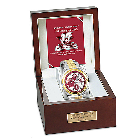 Alabama Crimson Tide 2017 Football National Champions Men's Commemorative Chronograph Watch by The Bradford Exchange Online - Lovely Exchange