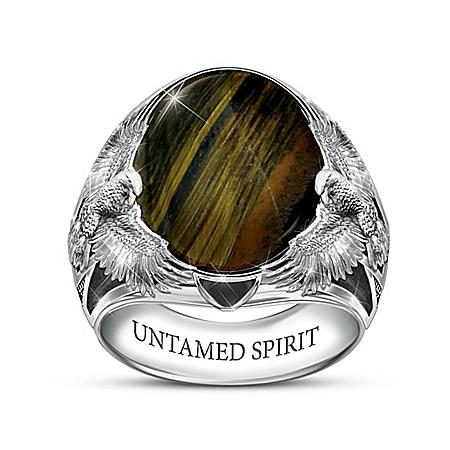 Sculpted Genuine Hawk's Eye Gemstone Men's Statement Ring