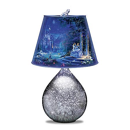 Disney Cinderella Art Glass Lamp With Glass Slipper Finial