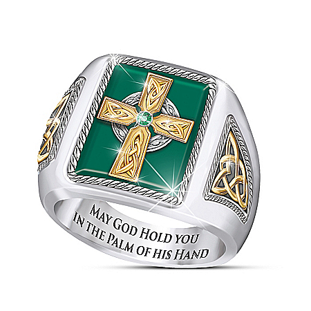 Celtic Blessings Men's Emerald Ring