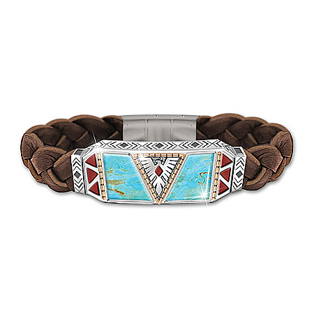 Native Spirit Men's Turquoise And Leather Bracelet