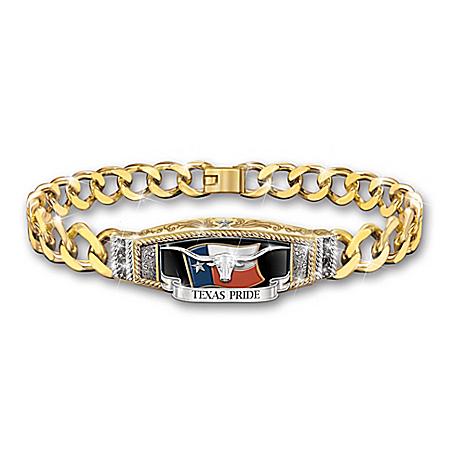 Pride Of Texas Women's Black Sapphire Chain Bracelet