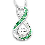 Always Loved Granddaughter Personalized Diamond Pendant Necklace