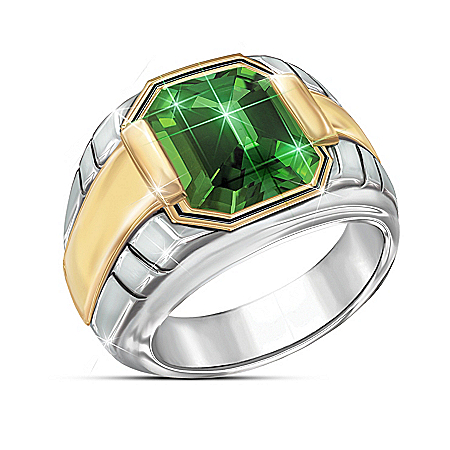 Force Of Nature Men's Sterling Silver Helenite Ring