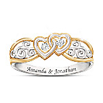Two Hearts, One Promise Women's Personalized Heart-Shaped Diamond Ring