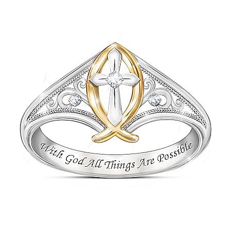 Enduring Faith Women's Religious Diamond Ring
