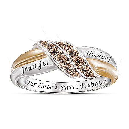 Sweet Embrace Personalized Women's Mocha Diamond Ring – Personalized Jewelry