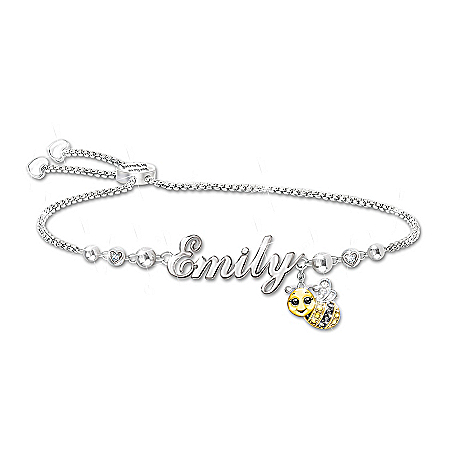 Always Bee Yourself Sterling Silver-Plated Bolo Bracelet Personalized With Your Granddaughter's Sculpted Name Featuring A Bee Ch