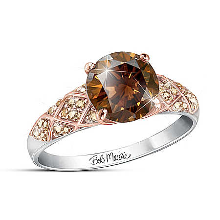 Bob Mackie Mocha Splendor Women's Diamonesk Ring