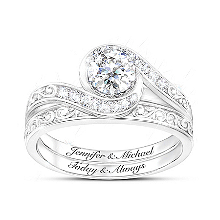 Love Grows Women's Personalized Diamonesk Bridal Ring Set – Personalized Jewelry