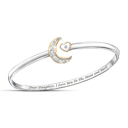 I Love You To The Moon And Back Solitaire Diamond Daughter Bracelet
