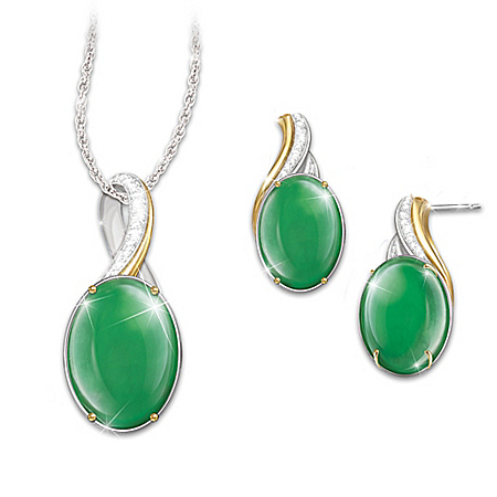 Empress Burmese Jade Pendant Necklace And Earrings Set