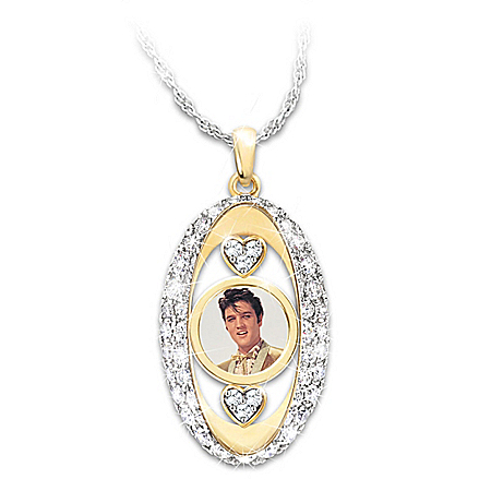 Elvis Presley Pendant Necklace With Swarovski Crystals