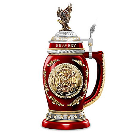 Salute To Bravery Heirloom Porcelain Firefighter Stein