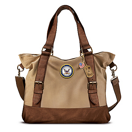 Armed Forces U.S. Navy Women's Canvas Handbag With Patriotic Charms