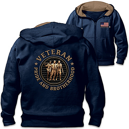 Brotherhood Of Veterans Men's Front Zip Hoodie