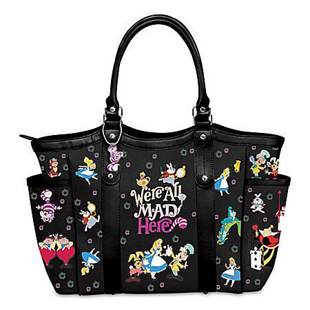 Disney Alice In Wonderland We're All Mad Here Women's Shoulder Tote Handbag