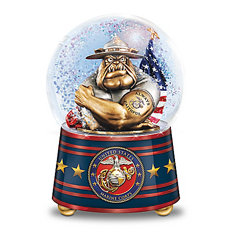 Ooh Rah! USMC Devil Dog Heirloom Porcelain Musical Glitter Globe