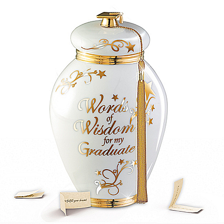 Words Of Wisdom For My Graduate Heirloom Porcelain Musical Wish Jar – Graduation Gift Ideas