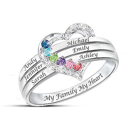 My Family, My Heart Women's Personalized Birthstone Ring – Personalized Jewelry