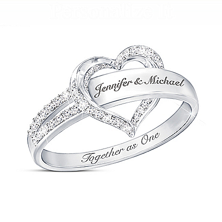 Together As One Women's Heart-Shaped Personalized Diamond Ring – Personalized Jewelry