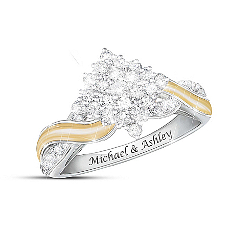 Love, Always And Forever Women's Personalized Sterling Silver Ring With 18K Gold-Plated Accents Featuring A Center Diamond Clust