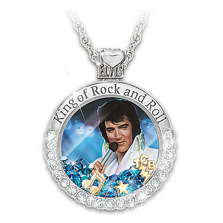 Rock And Roll Elvis Floating Crystal Pendant Necklace