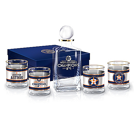 2017 World Series Champions Astros Decanter and Glasses Barware Gift Set