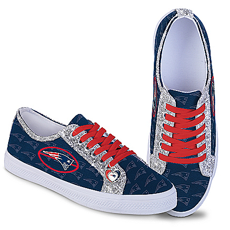 New England Patriots Women's Shoes With Glitter Trim
