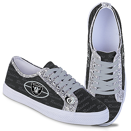 Las Vegas Raiders Women's Shoes With Glitter Trim