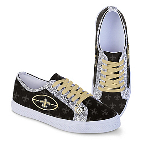 New Orleans Saints Women's Shoes With Glitter Trim