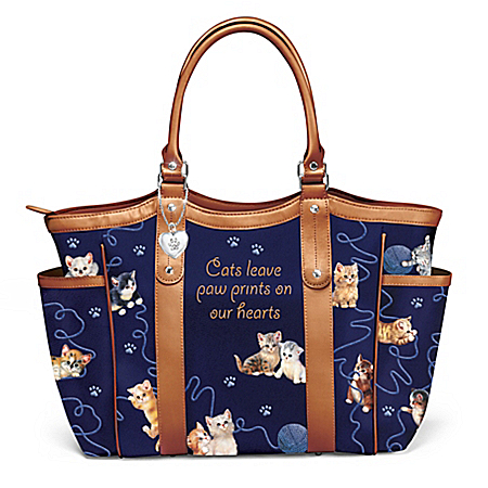 Jurgen Scholz Smitten With Kittens Women's Cat-Themed Shoulder Tote Bag by The Bradford Exchange Online - Lovely Exchange