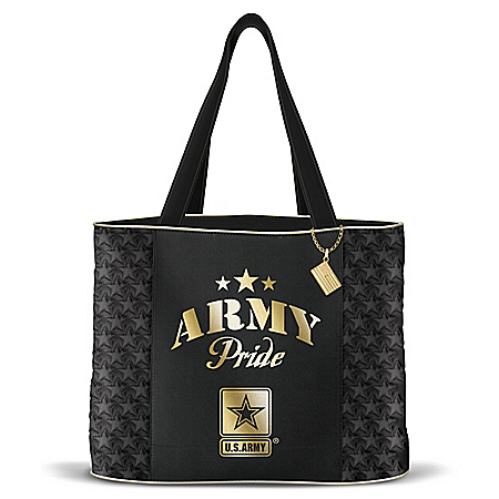 Military Pride Women's Army Quilted Tote Bag by The Bradford Exchange Online - Lovely Exchange