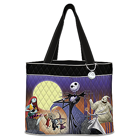 Disney Tim Burton s The Nightmare Before Christmas Women s Quilted Tote Bag 9962ee9daa573