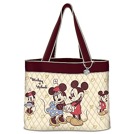 Disney Vintage Mickey Mouse And Minnie Mouse Women's Quilted Tote Bag