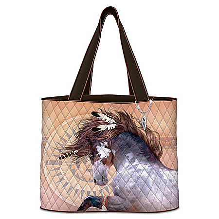 Painted Pony Artwork Women's Quilted Tote Bag with Sculpted Feather Charm