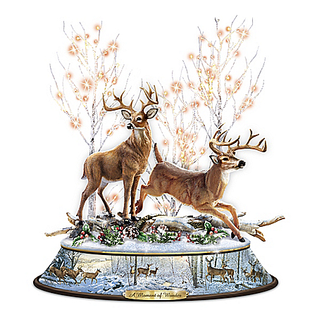 A Moment Of Wonder Illuminated Fully-Sculpted Deer Tabletop Centerpiece