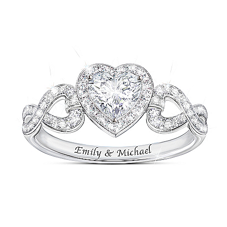 Hearts And Romance Women's Heart-Shaped Personalized White Topaz Ring by The Bradford Exchange Online - Lovely Exchange