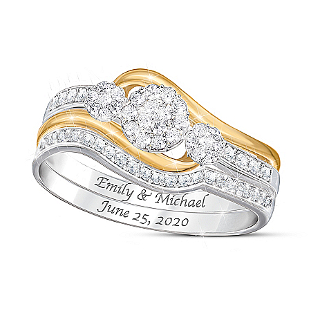 Love's Endless Embrace Women's Personalized Diamond Bridal Ring Set Featuring 18K Gold-Plated Accents – Personalized Jewelry