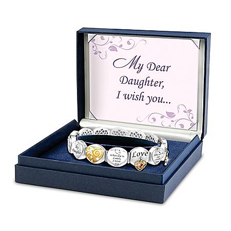 Loving Wishes Bracelet For Daughter With Swarovski Crystals