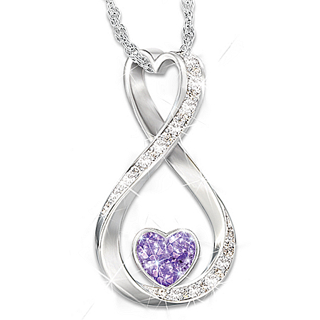 Forever Loved Women's Sterling Silver Personalized Birthstone Pendant Necklace Featuring An Infinity Design With A Heart-Shaped