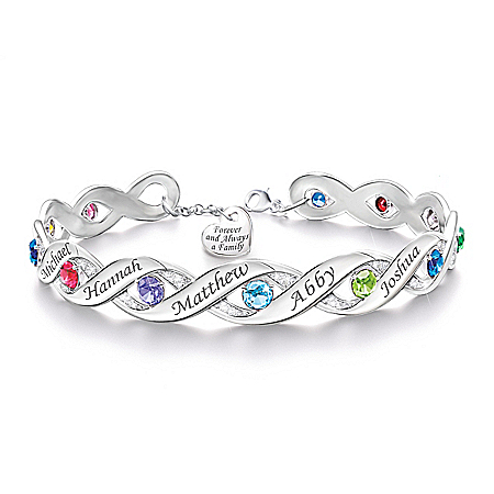 Forever & Always Women's Personalized Bracelet With Up To Twelve Engraved Names And Birthstones – Personalized Jewelry