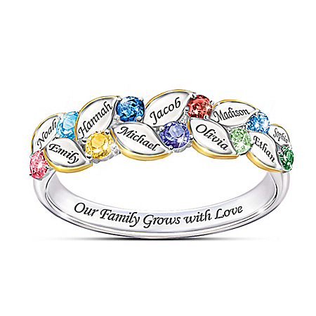 Our Family Of Joy Women's Personalized Birthstone Ring by The Bradford Exchange Online - Lovely Exchange