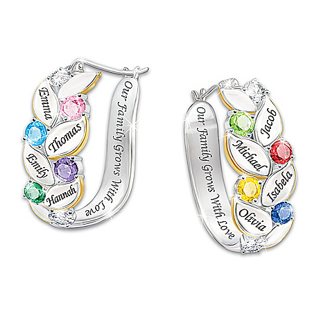 Our Family Of Joy Personalized Crystal Birthstone Earrings Featuring 18K Gold-Plated Accents – Personalized Jewelry