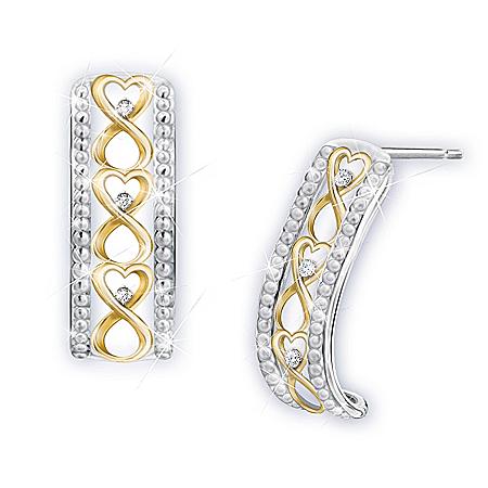 All My Love Sterling Silver Diamond Heart-Shaped Earrings