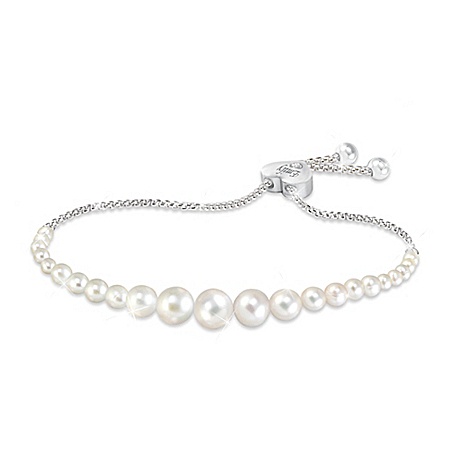 Grandma's Pearls Of Wisdom Personalized Diamond Bracelet With Custom Keepsake Box by The Bradford Exchange Online - Lovely Exchange