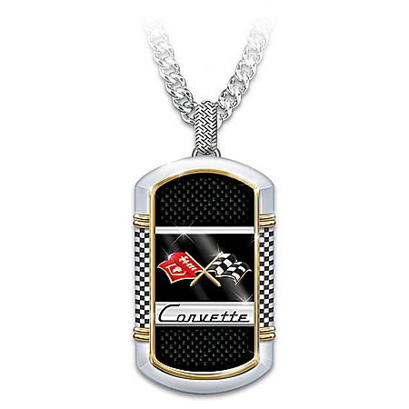 Corvette: The Legend Men's Stainless-Steel Dog Tag Pendant Necklace