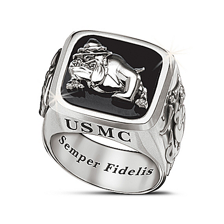 USMC Semper Fi Men's Stainless Steel Ring With Black Onyx Center Stone